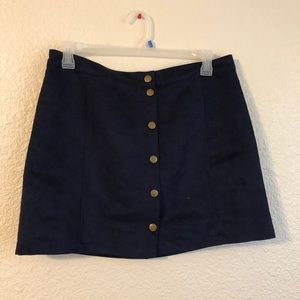 Old Navy Suede Navy Buttoned Mini Skirt Sz 12